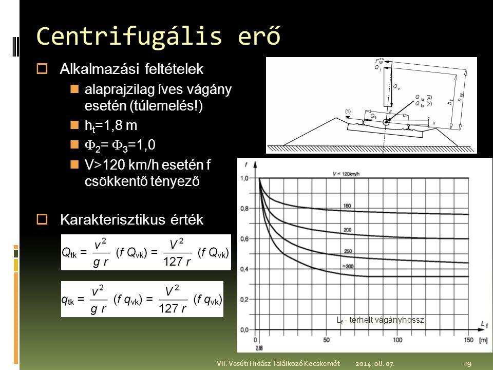 2014. 08. 07. VII. Vasúti Hidász Találkozó Kecskemét Centrifugális erő  Alkalmazási feltételek alaprajzilag íves vágány esetén (túlemelés!) h t =1,8