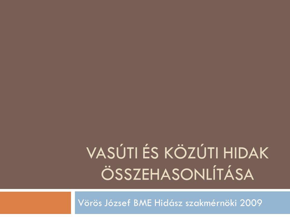 VASÚTI ÉS KÖZÚTI HIDAK ÖSSZEHASONLÍTÁSA Vörös József BME Hidász szakmérnöki 2009