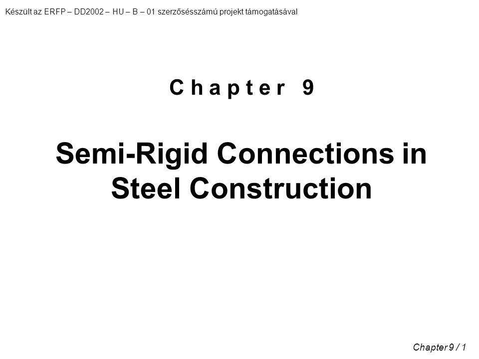 Készült az ERFP – DD2002 – HU – B – 01 szerzősésszámú projekt támogatásával Chapter 9 / 1 C h a p t e r 9 Semi-Rigid Connections in Steel Construction