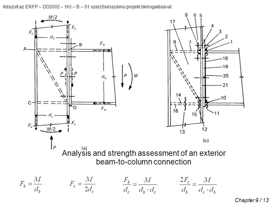 Készült az ERFP – DD2002 – HU – B – 01 szerzősésszámú projekt támogatásával Chapter 9 / 13 Analysis and strength assessment of an exterior beam-to-column connection