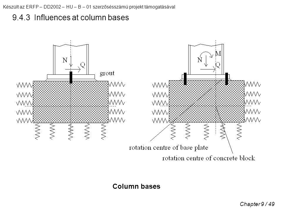 Készült az ERFP – DD2002 – HU – B – 01 szerzősésszámú projekt támogatásával Chapter 9 / 49 9.4.3 Influences at column bases Column bases