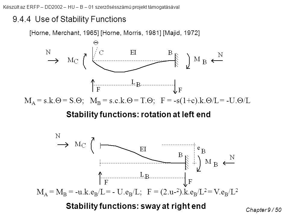 Készült az ERFP – DD2002 – HU – B – 01 szerzősésszámú projekt támogatásával Chapter 9 / 50 9.4.4 Use of Stability Functions [Horne, Merchant, 1965] [Horne, Morris, 1981] [Majid, 1972] M A = s.k.