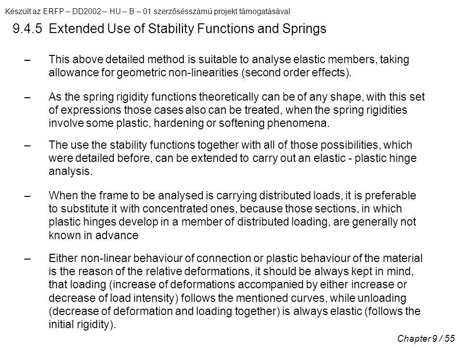 Készült az ERFP – DD2002 – HU – B – 01 szerzősésszámú projekt támogatásával Chapter 9 / 55 9.4.5 Extended Use of Stability Functions and Springs –This above detailed method is suitable to analyse elastic members, taking allowance for geometric non-linearities (second order effects).