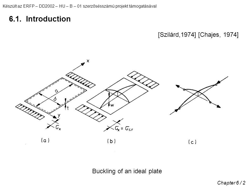 Készült az ERFP – DD2002 – HU – B – 01 szerzősésszámú projekt támogatásával Chapter 6 / 3 Load-shortening curve (1)Ideal response of perfect plate (2)Out-of-flatness curve