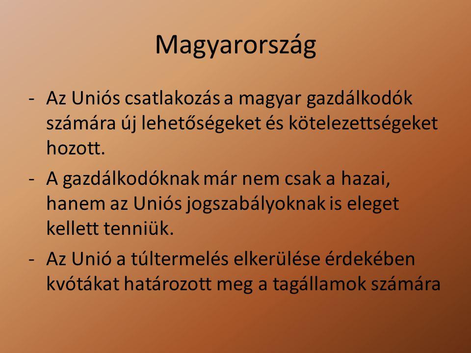 Magyarország -Az Uniós csatlakozás a magyar gazdálkodók számára új lehetőségeket és kötelezettségeket hozott. -A gazdálkodóknak már nem csak a hazai,