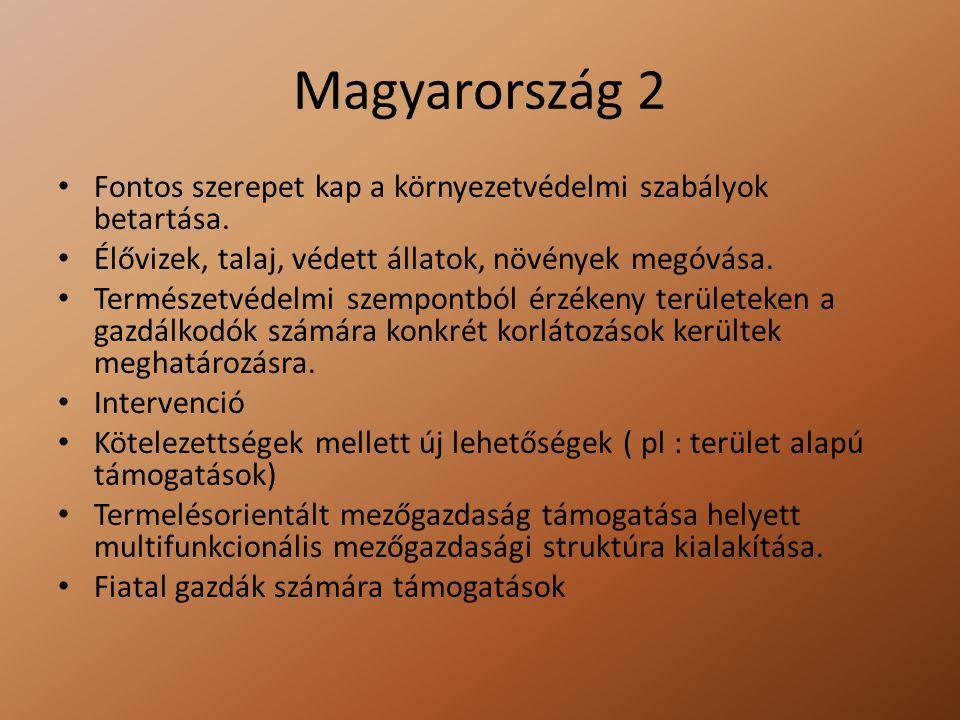 Magyarország 2 Fontos szerepet kap a környezetvédelmi szabályok betartása. Élővizek, talaj, védett állatok, növények megóvása. Természetvédelmi szempo