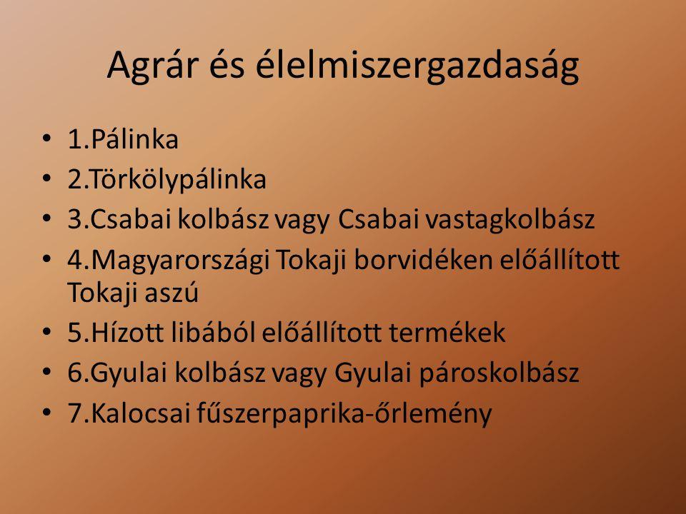 Agrár és élelmiszergazdaság 1.Pálinka 2.Törkölypálinka 3.Csabai kolbász vagy Csabai vastagkolbász 4.Magyarországi Tokaji borvidéken előállított Tokaji