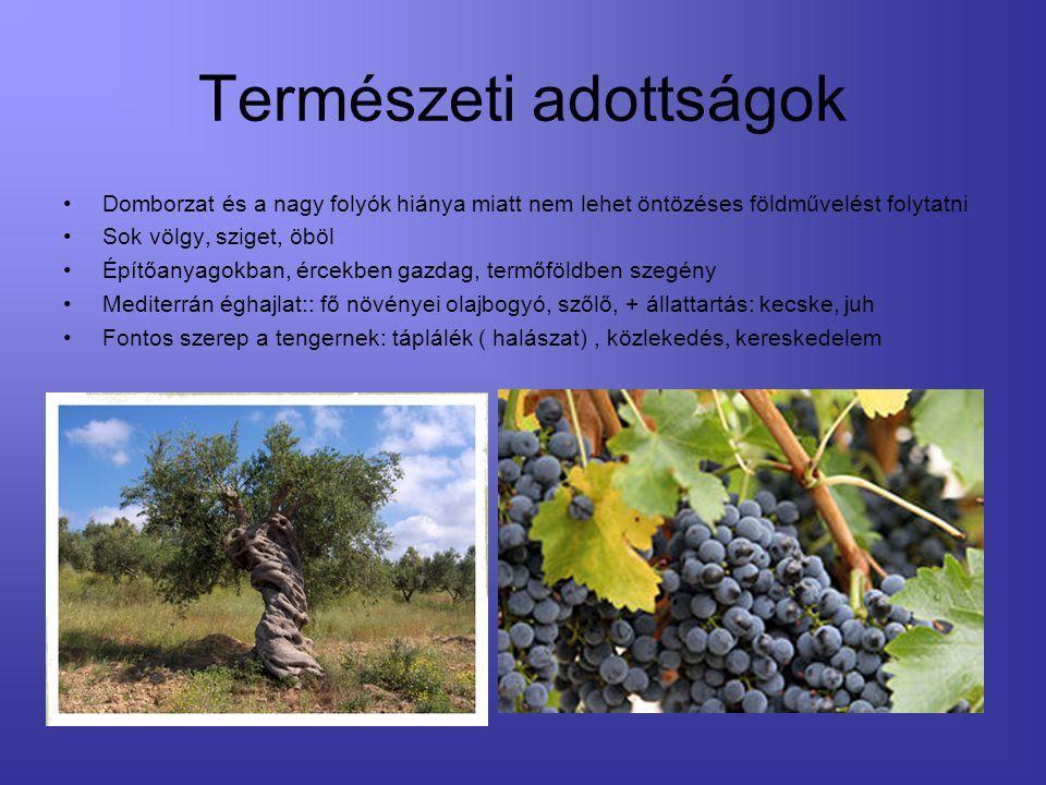 Természeti adottságok Domborzat és a nagy folyók hiánya miatt nem lehet öntözéses földművelést folytatni Sok völgy, sziget, öböl Építőanyagokban, érce