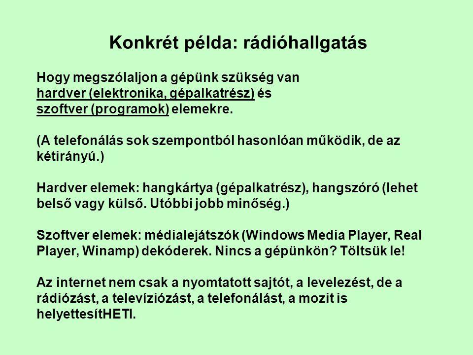 Konkrét példa: rádióhallgatás Hogy megszólaljon a gépünk szükség van hardver (elektronika, gépalkatrész) és szoftver (programok) elemekre. (A telefoná