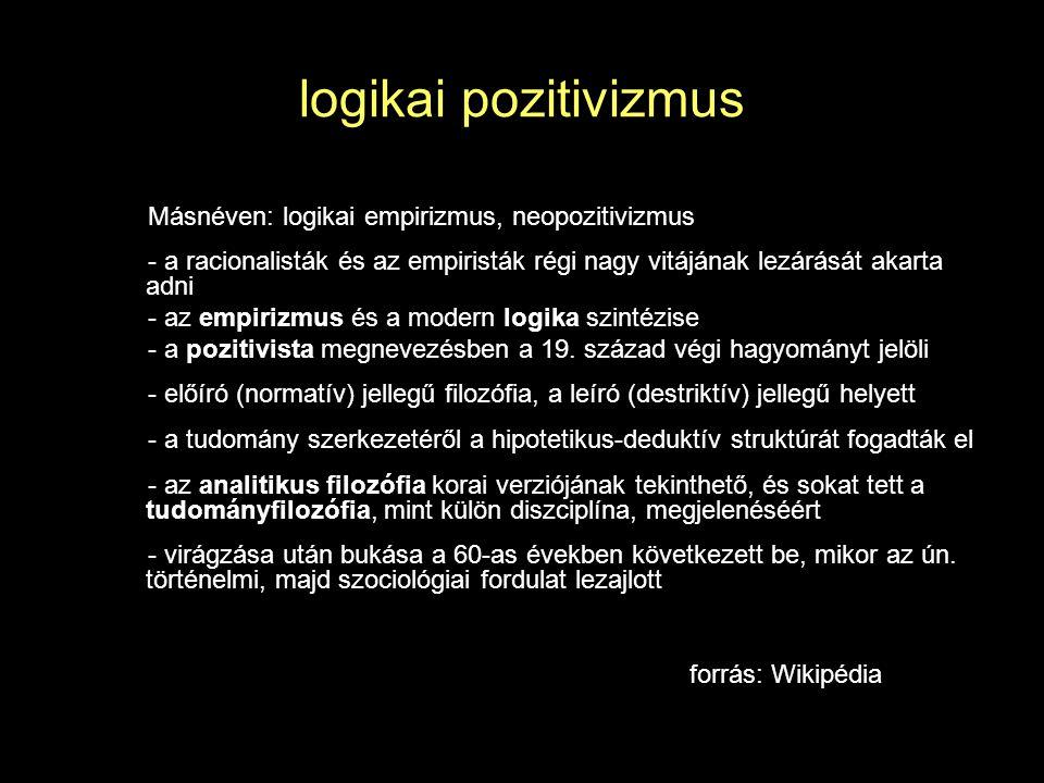 logikai pozitivizmus Másnéven: logikai empirizmus, neopozitivizmus - a racionalisták és az empiristák régi nagy vitájának lezárását akarta adni - az empirizmus és a modern logika szintézise - a pozitivista megnevezésben a 19.
