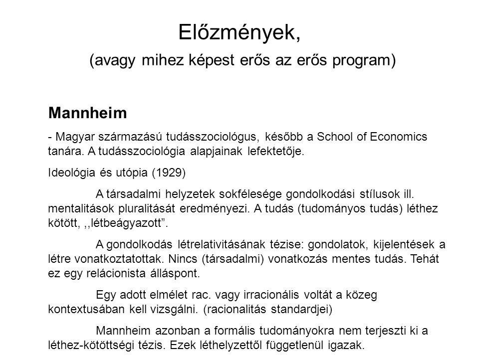 Előzmények, (avagy mihez képest erős az erős program) Mannheim - Magyar származású tudásszociológus, később a School of Economics tanára. A tudásszoci