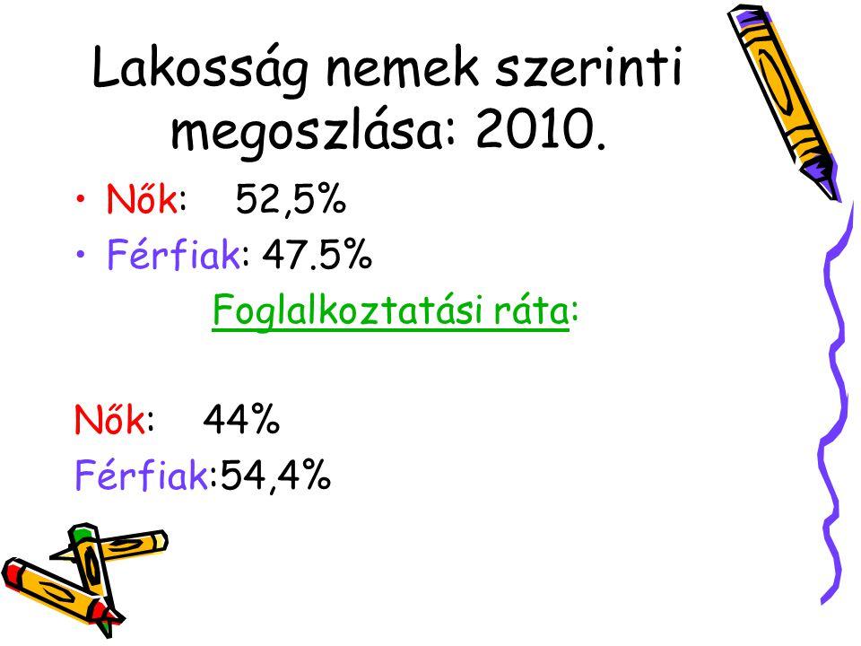 Gazdaságilag: Aktív: Nők: 49.3% Férfiak: 62.3% Nem aktív: Nők: 50.7% Férfiak: 37.7% /KSH adat 2010/