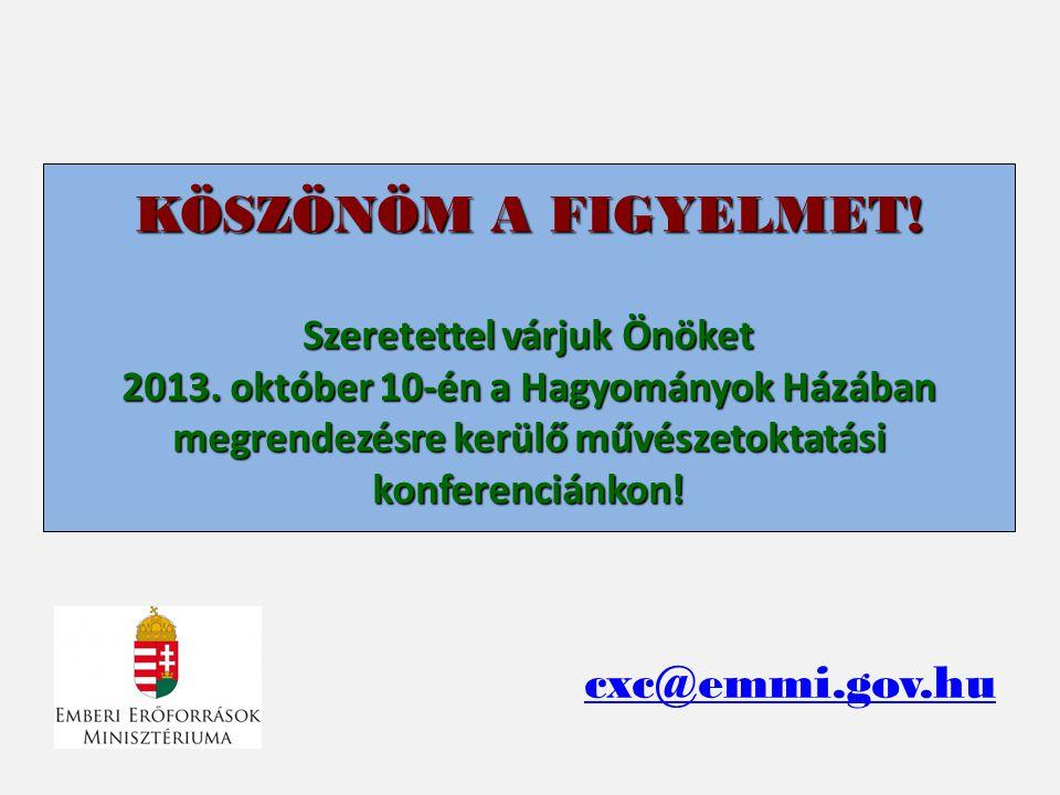 KÖSZÖNÖM A FIGYELMET! Szeretettel várjuk Önöket 2013. október 10-én a Hagyományok Házában megrendezésre kerülő művészetoktatási konferenciánkon! cxc@e