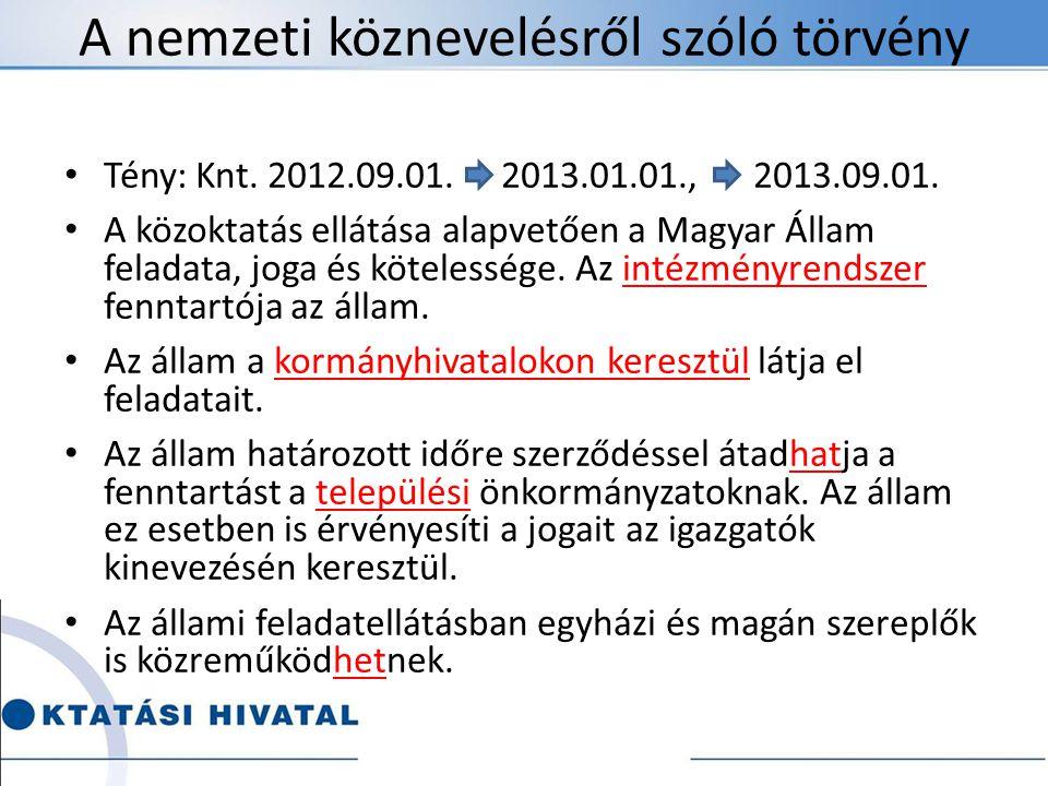 A nemzeti köznevelésről szóló törvény Tény: Knt. 2012.09.01. 2013.01.01., 2013.09.01. A közoktatás ellátása alapvetően a Magyar Állam feladata, joga é