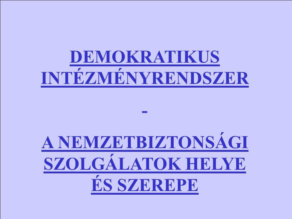 DEMOKRATIKUS INTÉZMÉNYRENDSZER - A NEMZETBIZTONSÁGI SZOLGÁLATOK HELYE ÉS SZEREPE