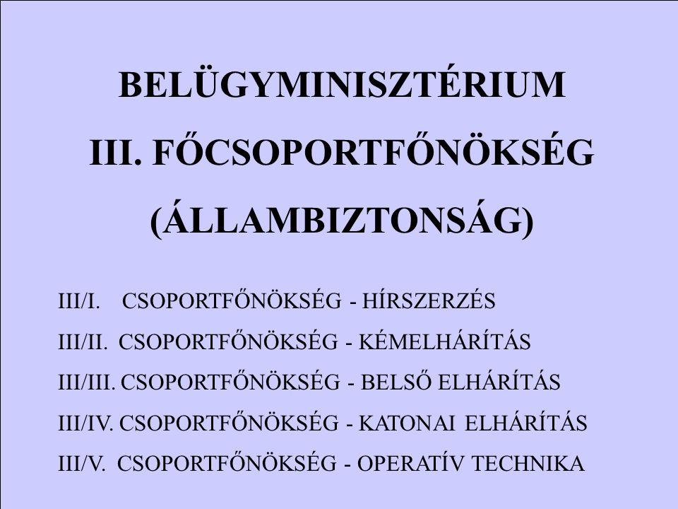 BELÜGYMINISZTÉRIUM III. FŐCSOPORTFŐNÖKSÉG (ÁLLAMBIZTONSÁG) III/I. CSOPORTFŐNÖKSÉG - HÍRSZERZÉS III/II. CSOPORTFŐNÖKSÉG - KÉMELHÁRÍTÁS III/III. CSOPORT