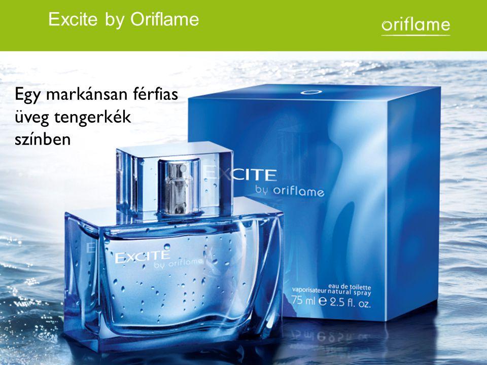 Egy markánsan férfias üveg tengerkék színben Excite by Oriflame