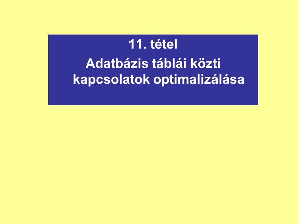 11. tétel Adatbázis táblái közti kapcsolatok optimalizálása