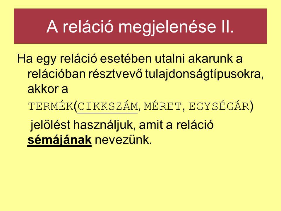 A reláció megjelenése II. Ha egy reláció esetében utalni akarunk a relációban résztvevő tulajdonságtípusokra, akkor a TERMÉK ( CIKKSZÁM, MÉRET, EGYSÉG