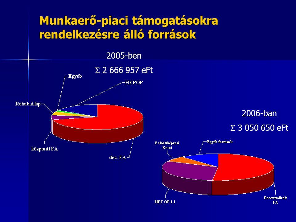 Munkaerő-piaci támogatásokra rendelkezésre álló források 2006-ban  3 050 650 eFt 2005-ben  2 666 957 eFt
