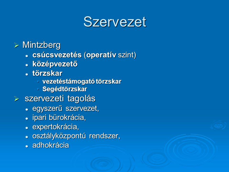 Szervezet  Mintzberg csúcsvezetés (operatív szint) csúcsvezetés (operatív szint) középvezető középvezető törzskar törzskar vezetéstámogató törzskarve