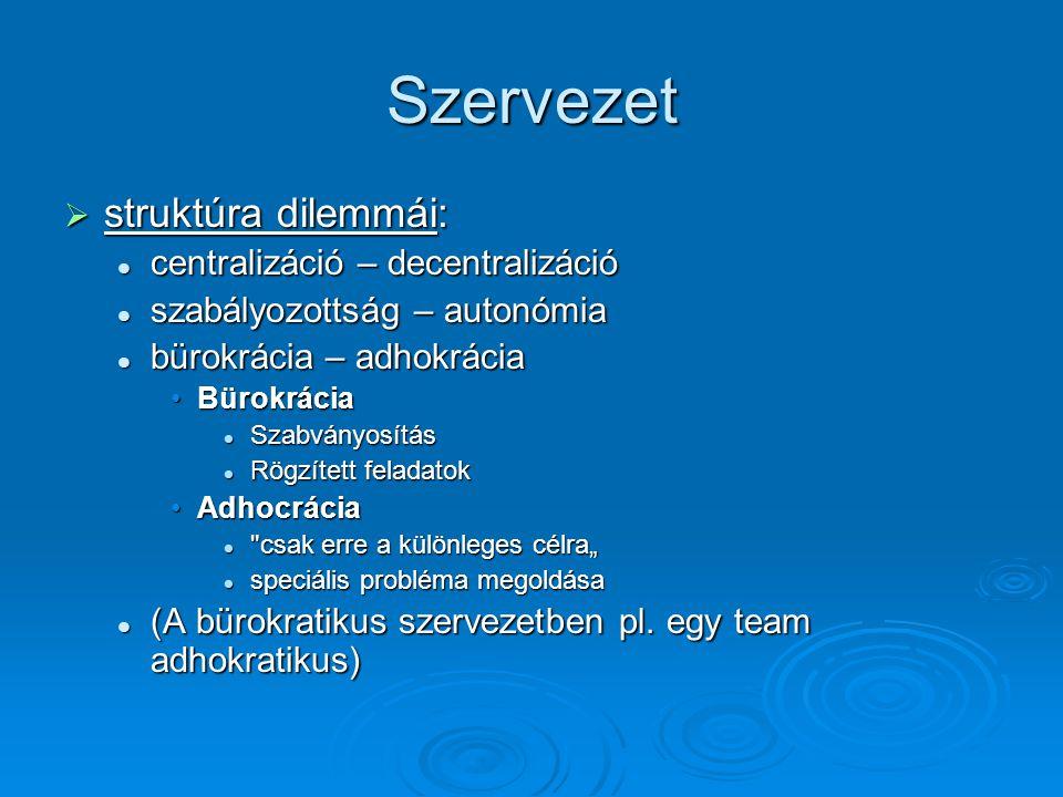 Szervezet  struktúra dilemmái: centralizáció – decentralizáció centralizáció – decentralizáció szabályozottság – autonómia szabályozottság – autonómi