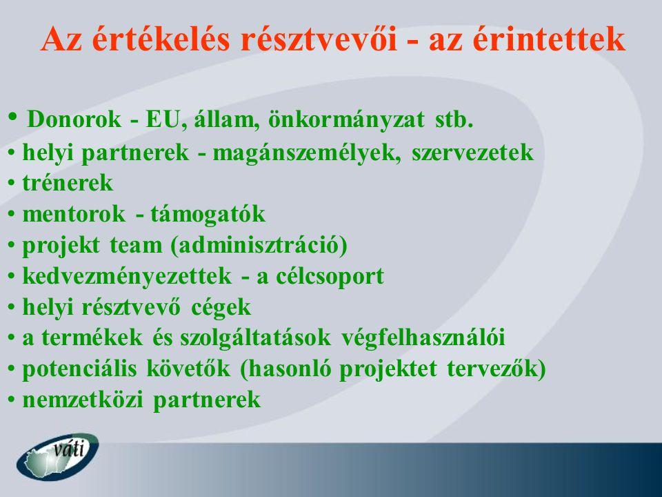 Az értékelés résztvevői - az érintettek Donorok - EU, állam, önkormányzat stb.