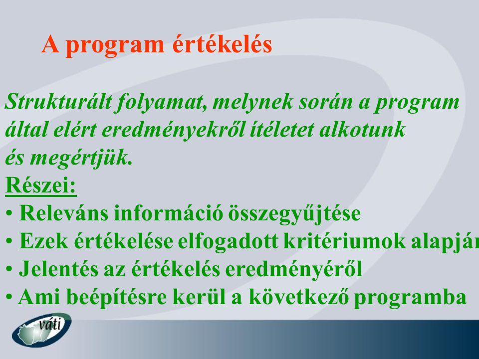 A program értékelés Strukturált folyamat, melynek során a program által elért eredményekről ítéletet alkotunk és megértjük.