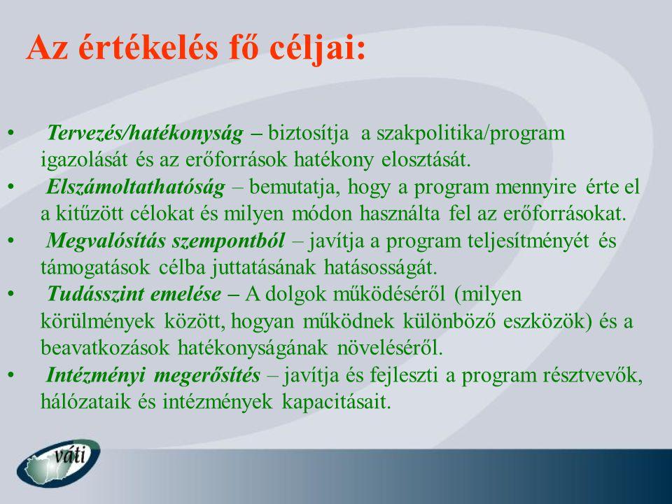 Az értékelés fő céljai: Tervezés/hatékonyság – biztosítja a szakpolitika/program igazolását és az erőforrások hatékony elosztását.