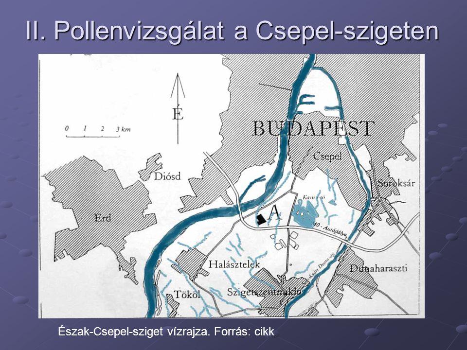 II. Pollenvizsgálat a Csepel-szigeten Észak-Csepel-sziget vízrajza. Forrás: cikk