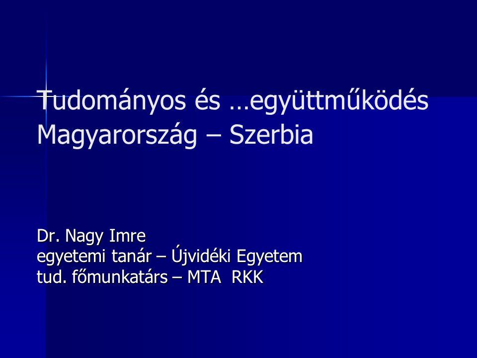 Tudományos és …együttműködés Magyarország – Szerbia Dr. Nagy Imre egyetemi tanár – Újvidéki Egyetem tud. főmunkatárs – MTA RKK
