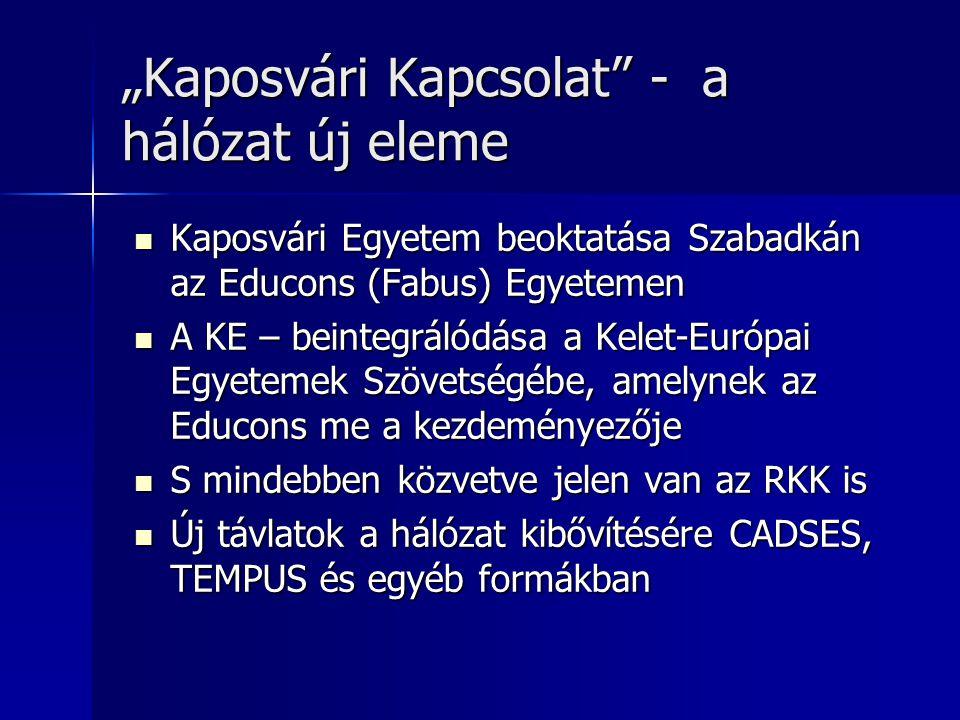 """""""Kaposvári Kapcsolat"""" - a hálózat új eleme Kaposvári Egyetem beoktatása Szabadkán az Educons (Fabus) Egyetemen Kaposvári Egyetem beoktatása Szabadkán"""