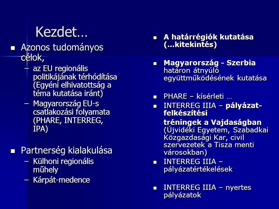 Kezdet… Azonos tudományos célok, Azonos tudományos célok, –az EU regionális politikájának térhódítása (Egyéni elhivatottság a téma kutatása iránt) –Ma