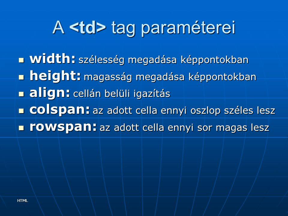 HTML A tag paraméterei width: szélesség megadása képpontokban width: szélesség megadása képpontokban height: magasság megadása képpontokban height: ma