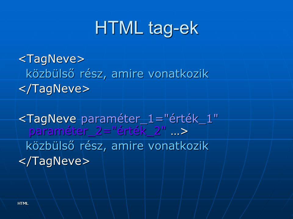 HTML HTML tag-ek <TagNeve> közbülső rész, amire vonatkozik közbülső rész, amire vonatkozik</TagNeve> közbülső rész, amire vonatkozik közbülső rész, am