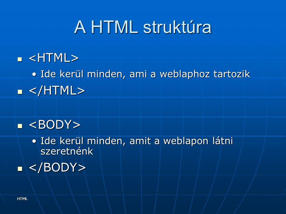 HTML A HTML struktúra Ide kerül minden, ami a weblaphoz tartozikIde kerül minden, ami a weblaphoz tartozik Ide kerül minden, amit a weblapon látni sze