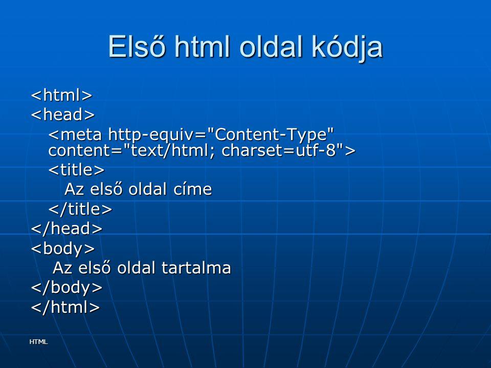 HTML Első html oldal kódja <html><head> Az első oldal címe Az első oldal címe </head><body> Az első oldal tartalma Az első oldal tartalma</body></html
