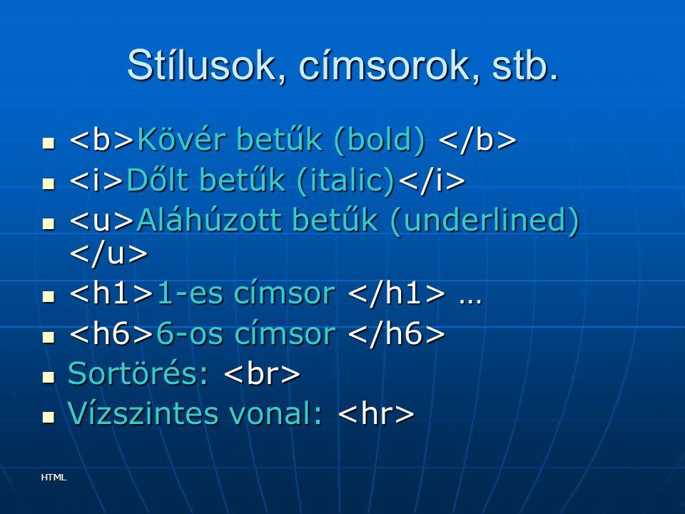 HTML Stílusok, címsorok, stb. Kövér betűk (bold) Kövér betűk (bold) Dőlt betűk (italic) Dőlt betűk (italic) Aláhúzott betűk (underlined) Aláhúzott bet