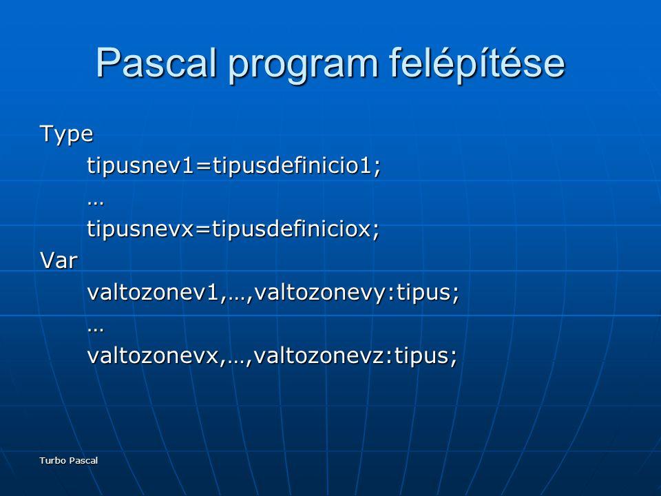 Turbo Pascal Pascal program felépítése Type tipusnev1=tipusdefinicio1; tipusnev1=tipusdefinicio1; … tipusnevx=tipusdefiniciox; tipusnevx=tipusdefiniciox;Var valtozonev1,…,valtozonevy:tipus; valtozonev1,…,valtozonevy:tipus; … valtozonevx,…,valtozonevz:tipus; valtozonevx,…,valtozonevz:tipus;