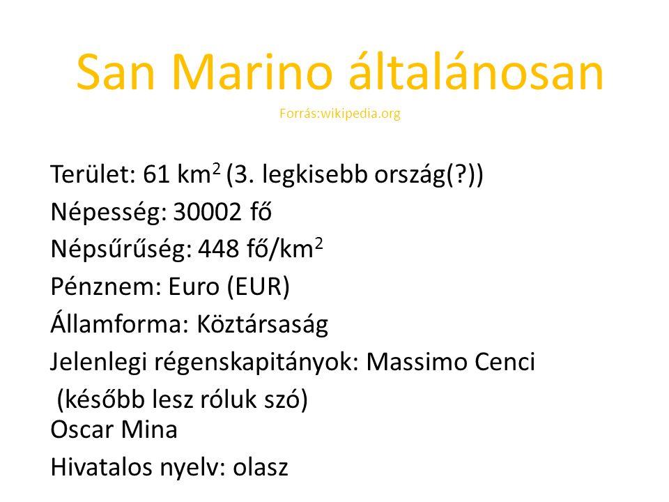 San Marino általánosan Forrás:wikipedia.org Terület: 61 km 2 (3. legkisebb ország(?)) Népesség: 30002 fő Népsűrűség: 448 fő/km 2 Pénznem: Euro (EUR) Á