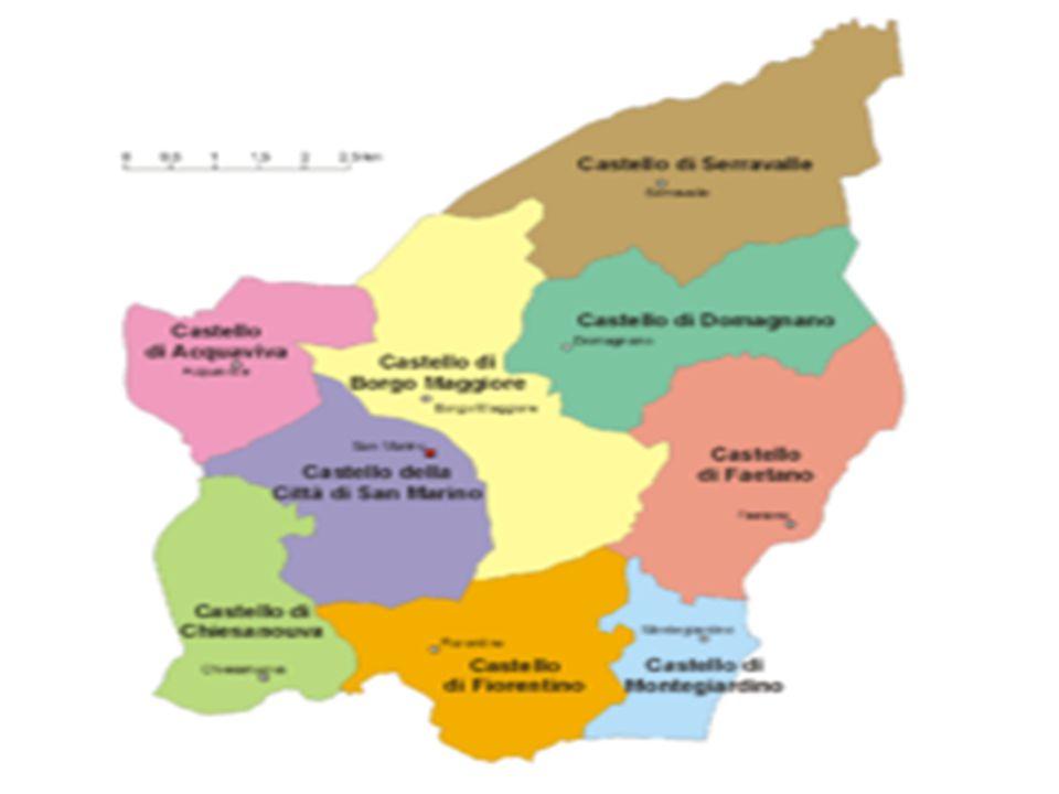 Gazdasági körzetek  Acquaviva (legkeletibb)  Borgo Maggiore (Serravalle alatt bal oldalt)  Chiesanuova (délen a legkeletibb)  Domagnano (Serrvalle alatt a másik)  Faetano (Domagnano alatt)  Fiorentino (délen a középső)  Montegiardino (délen a legnyugatibb)  San Marino (főváros)  Serravalle (legészakibb)