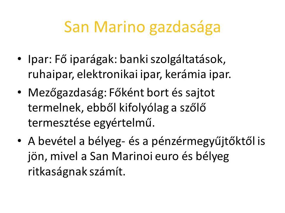 San Marino gazdasága Ipar: Fő iparágak: banki szolgáltatások, ruhaipar, elektronikai ipar, kerámia ipar. Mezőgazdaság: Főként bort és sajtot termelnek