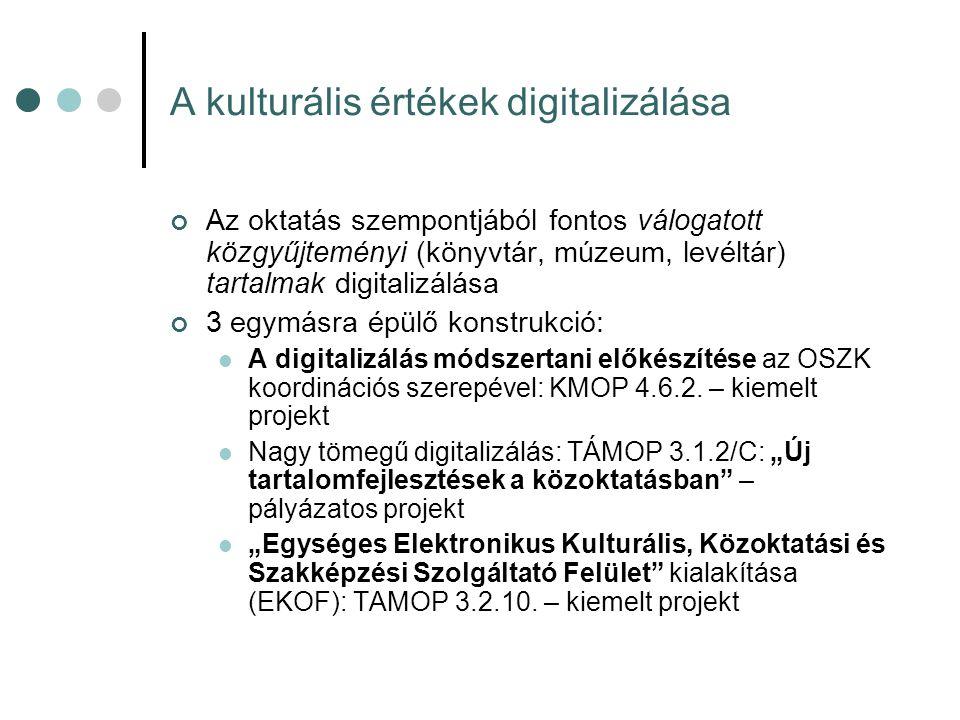 A kulturális értékek digitalizálása Az oktatás szempontjából fontos válogatott közgyűjteményi (könyvtár, múzeum, levéltár) tartalmak digitalizálása 3 egymásra épülő konstrukció: A digitalizálás módszertani előkészítése az OSZK koordinációs szerepével: KMOP 4.6.2.