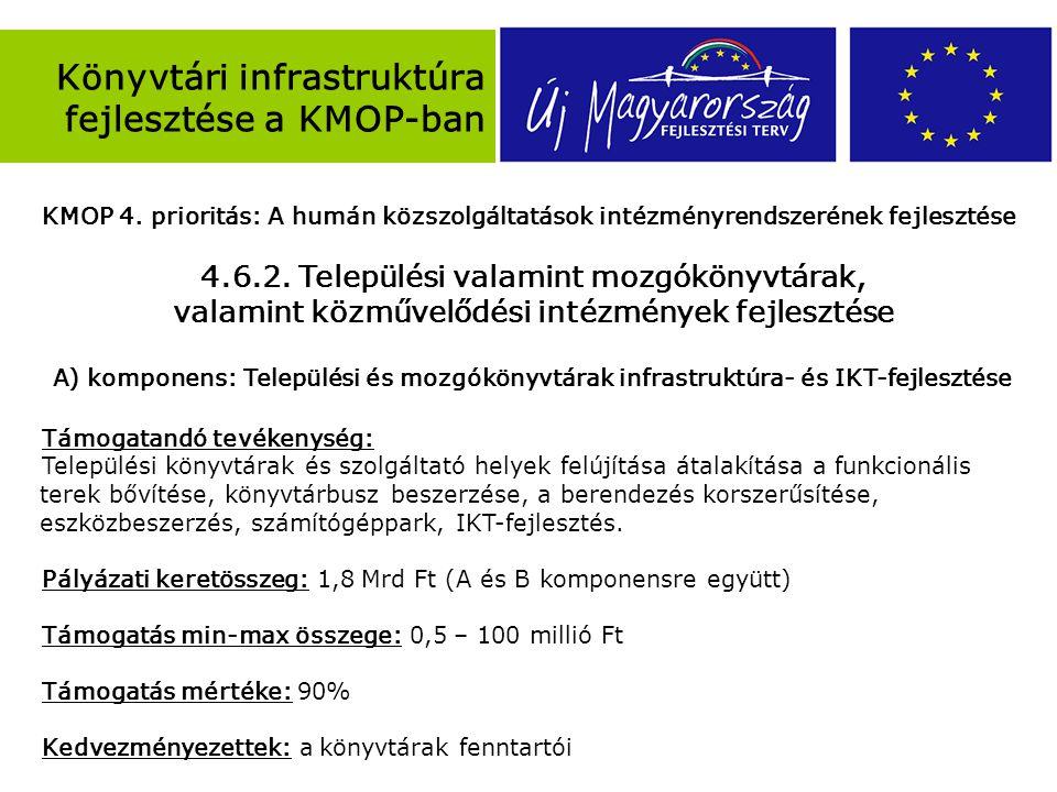 Könyvtári infrastruktúra fejlesztése a KMOP-ban KMOP 4.