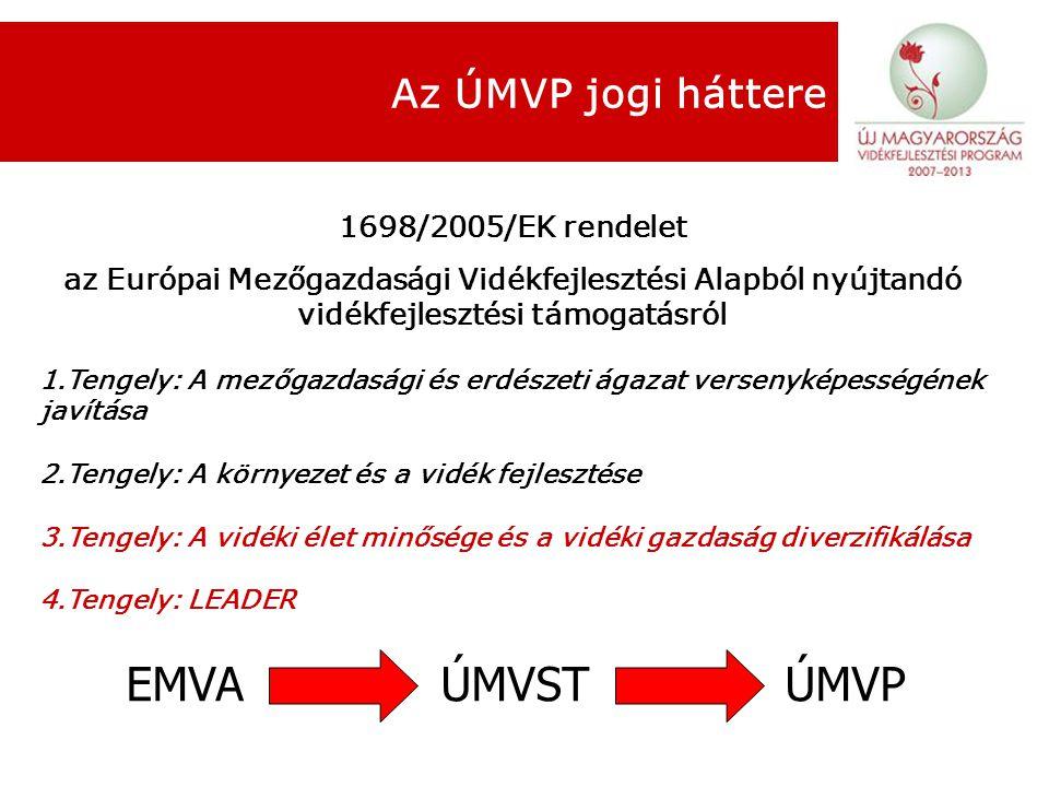 Az ÚMVP jogi háttere 1698/2005/EK rendelet az Európai Mezőgazdasági Vidékfejlesztési Alapból nyújtandó vidékfejlesztési támogatásról 1.Tengely: A mezőgazdasági és erdészeti ágazat versenyképességének javítása 2.Tengely: A környezet és a vidék fejlesztése 3.Tengely: A vidéki élet minősége és a vidéki gazdaság diverzifikálása 4.Tengely: LEADER EMVA ÚMVST ÚMVP