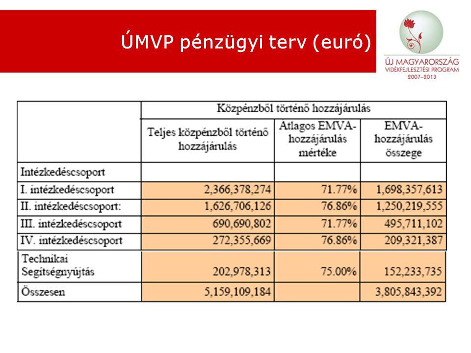 ÚMVP pénzügyi terv (euró)