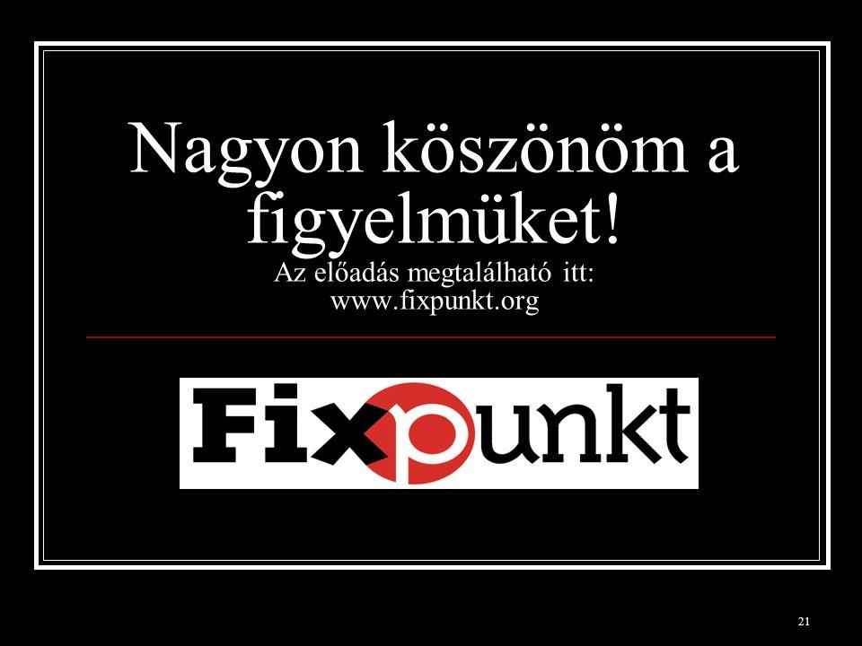 21 Nagyon köszönöm a figyelmüket! Az előadás megtalálható itt: www.fixpunkt.org