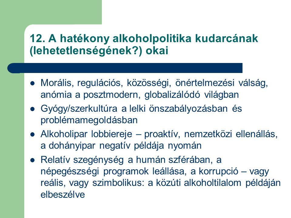 12. A hatékony alkoholpolitika kudarcának (lehetetlenségének?) okai Morális, regulációs, közösségi, önértelmezési válság, anómia a posztmodern, global