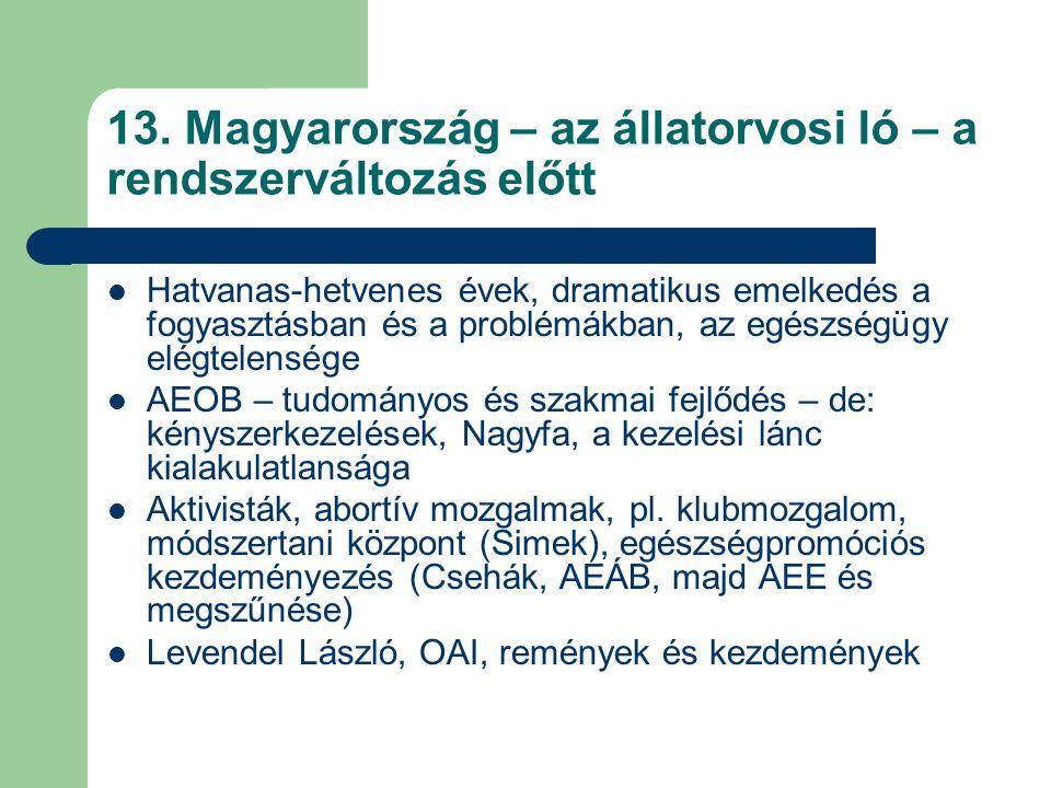 13. Magyarország – az állatorvosi ló – a rendszerváltozás előtt Hatvanas-hetvenes évek, dramatikus emelkedés a fogyasztásban és a problémákban, az egé