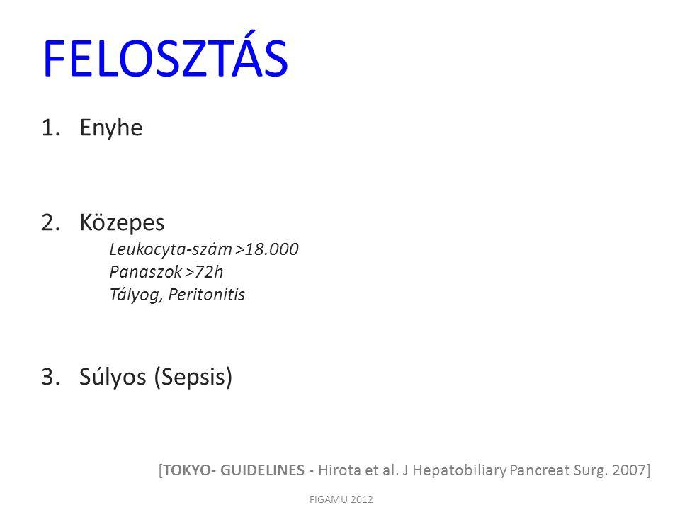 FELOSZTÁS FIGAMU 2012 1.Enyhe 2.Közepes Leukocyta-szám >18.000 Panaszok >72h Tályog, Peritonitis 3.Súlyos (Sepsis) [TOKYO- GUIDELINES - Hirota et al.